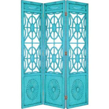 Turquoise Blue Spider Web Room Screen | LampsPlus.com