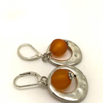 Orange silver earrings, tangerine earrings