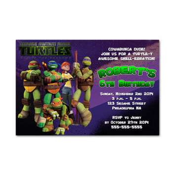 Teenage Mutant Ninja Turtles Out Of The Shafaw Kids Birthday Invitation Party Design