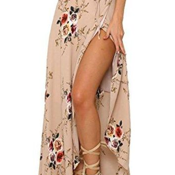 Yonala Womens Boho Floral Tie Up Waist Summer Beach Wrap Cover Up Maxi Skirt