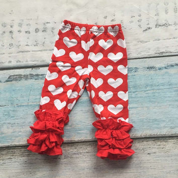baby girls Valentines day icing pant children red with heart pants girls trousers infant girl clothes toddler cotton ruffle pant