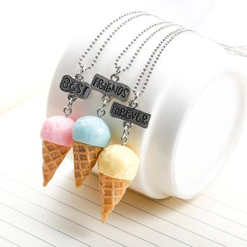 New Fashion Christmas Gift Best Friends Forever Necklace Colorfull Cone Ice Cream Friendship Necklaces Set of 3 For Kids Gift