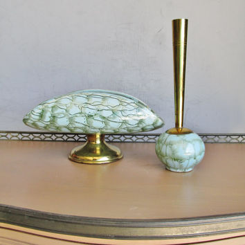 1950s Ceramic Turquoise Console Tray And Vase Set Brass Trim Signed Hand Pained Delft Holland Collectible Gift Item 1486