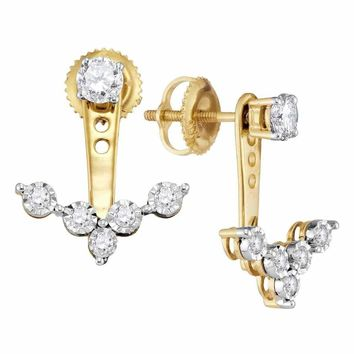 10kt Yellow Gold Women's Round Diamond Earring Jacket Studs 5-8 Cttw - FREE Shipping (US/CAN)