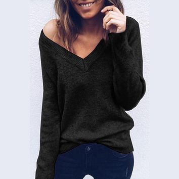 Sexy Women Sweater V Neck Loose Sweater Women Off Shoulder Autumn Sweater Pullover