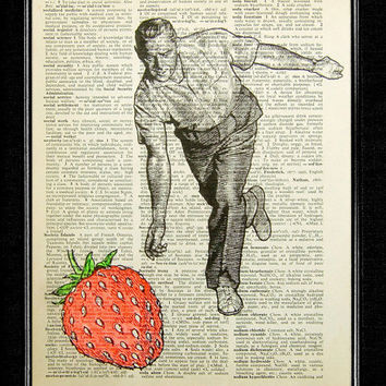 Bowling Print  Strawberry Bowling  ORIGINAL ARTWORK by popcapopca