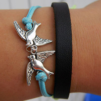 Adjustable leather blue wax rope bracelet is the most romantic gift to the loved one -- happy couple