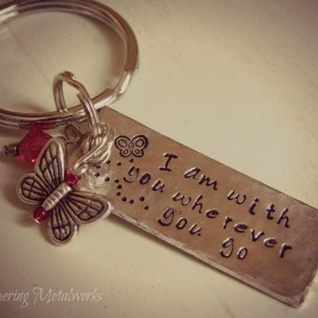 Silver bar key chain with butterfly charm and Swarvoski crystal - I am with you wherever you go