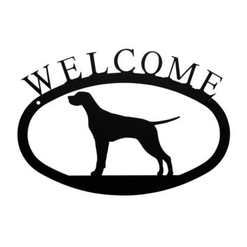 Wrought Iron Pointer Dog Welcome Home Sign Small