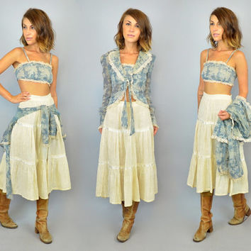 3-PIECE vtg 70s bohemian country western bralette + jacket + skirt MATCHING SET, small-medium