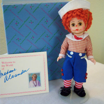 Mop Top Billy,#140485,Madame Alexander,doll collectors,red white blue,white sailor hat,clown makeup,red yarn hair,brown eyes,velvet shoes