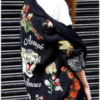 GUCCI Women Embroidery Pattern Knit Coat