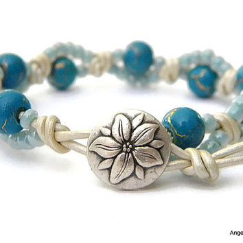 Wrap Bracelet Entwined Leather Wrap Flower Bracelet