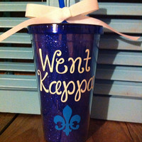 Personalized Sorority gifts,  Went Kappa blue glitter cup, with fleur de lis,  16oz tumbler with straw can be personalized