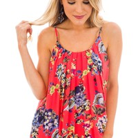 Stasia Floral Tank, Coral