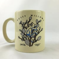 Pussy Willows Cat Mug Vintage Petal Pets Coffee Mug Humorous Kitty Cat Mug Cat in Pussy Willow Branches Cat Lover Mug White Cat Mug