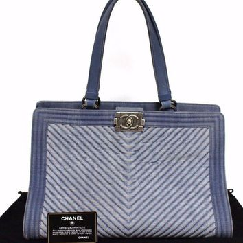 Authentic CHANEL Boy Chanel denim tote bag A92773 Blue Vintage (380760)