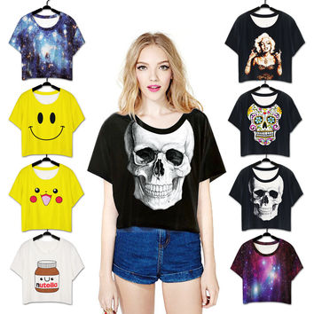 Print Stylish Short Sleeve T-shirts [6049496257]