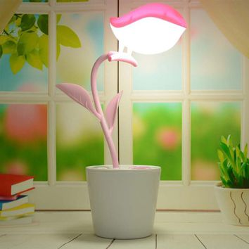 Birds LED Flower Pots Lights Pencils Table Lamp Light