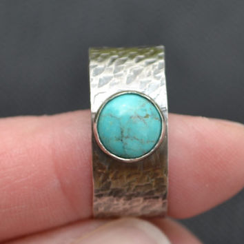 Sterling Silver Men's Ring with Turquoise Cabochon