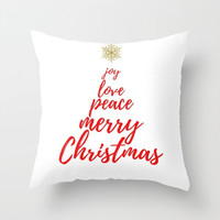 Red Christmas Decorations, White Christmas Tree Pillow Covers, Christmas Decor Pillows, Gold Holiday Pillows with Sayings, Typography Pillow
