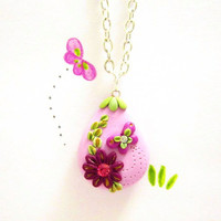 Purple necklace wedding drop pendant OOAK by FlowerLandShop