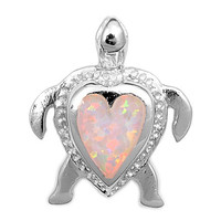 """Sterling Silver Lab White Opal Sea Turtle Heart Pendant 20MM (Free 18"""" Chain)"""