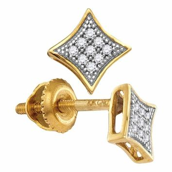 10kt Yellow Gold Women's Round Diamond Square Kite Cluster Screwback Earrings 1-20 Cttw - FREE Shipping (US/CAN)