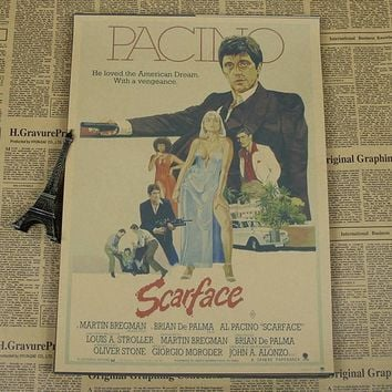 Al Pacino Scarface  vintage Movie  Poster Wall Paper Home Decor  Cuadro Art Painting Mix Order 42x30CM  H-732