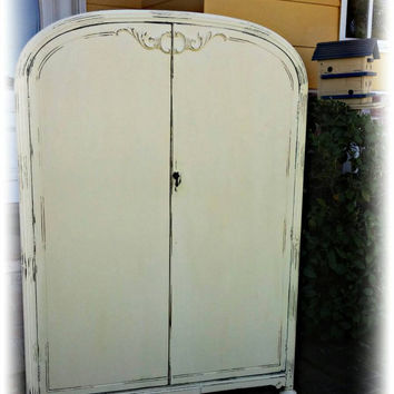Distressed Antique wardrobe armoire , shabby chic armoire, wardrobe armoire, Rustic wardrobe armoire, painted armoire, nursery furniture
