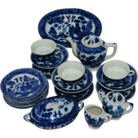 Vintage Blue Willow Toy China Porcelain Play Set Service for Six Made in Japan for Sears