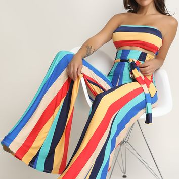 Colorful Stripe Tube Top With Palazzo Pants Set
