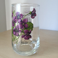 Vintage Flower of the Month Series Drinking Glass, February Violets Purple Floral Glass Cup, Birthday Gift