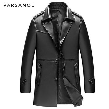 Long Trench Men PU Jackets Coats Windbreaker Leather Jackets Full Sleeve Autumn Turn-Down Collar Button