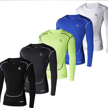 Men long sleeve tights base layer fitness thermal  top