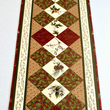 Christmas Table Runner, Quilted Table Topper, Holly Pines, Red Winter Table Runner, Table Quilt, Quiltsy Handmade