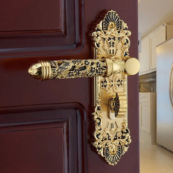 European Villa Gold-Plated Lock Antique Room Wood Door Lock High-Top Carved Hollow Door Handle Lock Bedroom Mute Mechanical Lock