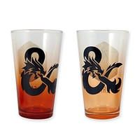 Dungeons and Dragons Pint Glass, FAIL and CRIT Pint Glasses with Red and Orange Transparent Bottom, Pack of 2, 16oz
