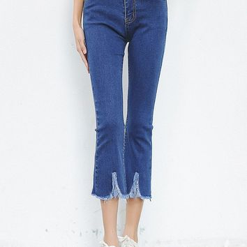 Streetstyle  Casual Blue Frayed Trim High-Rise Flared Midi Jean