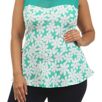 Flower Print Sheer Top - Mint - Plus Size - 1x - 2x - 3x
