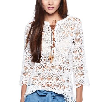 Casual Boho Laced Up Feather Crochet 3/4 Sleeves Knit Top Blouse