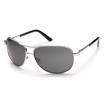 Suncloud Aviator Silver Sunglasses, Gray Polarized Lenses