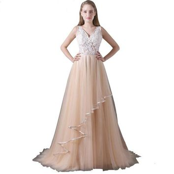 Tulle Evening Dresses Sexy Backless V-neck Long Prom Dress Appliques Beaded Homecoming Dresses Custom