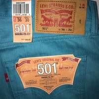 Men's New Levi's 501 Shrink To Fit Straight Leg Button Fly Jeans Size 36x30 NWT