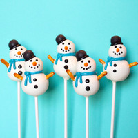 12 Frosty Snowman Cake Pops for Winter Wonderland, One-derland, Christmas, Frozen, Birthday, Wedding, Baby Shower, Snow, favors, toppers