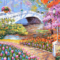 Park Original Painting with oil palette knife by Dmitry Spiros. Size 28 x 40 in, 70 x 100 cm, 2015