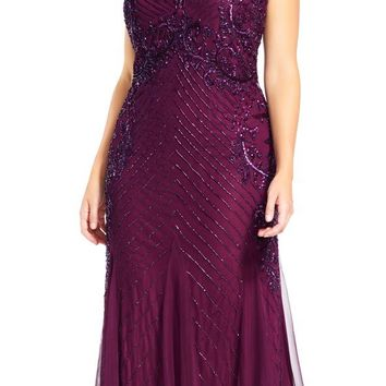 Adrianna Papell - AP1E200211 Sequined Keyhole Trumpet Gown