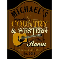 Personalized Country & Western Room Wood Sign
