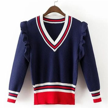 2017 New Fashion Female Pullovers Knitted Long Puff Sleeve V-neck Winter Ruffles Patchwork Sweaters Hot Sale 71977