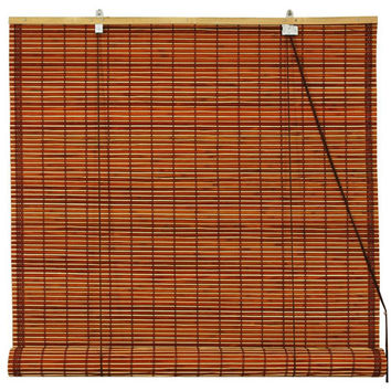 Oriental Furniture WT-YJ1-8B6-2A-60W Burnt Bamboo Roll Up Blinds - Mahogany 60 Inch, Width - 60 Inches
